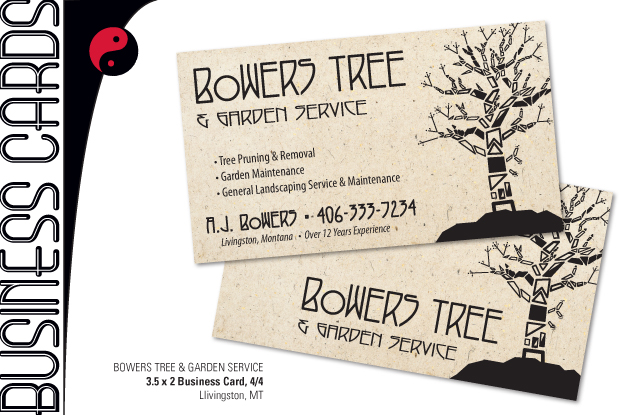 created 42613 bowers tree garden service - Tree Service Business Cards